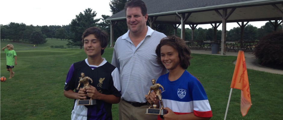 Chesapeake Bay Golf Club FootGolf World Cup Winners Kyle Andrus & Cooper Andrus with CBGC Director of Golf Andy Barbin