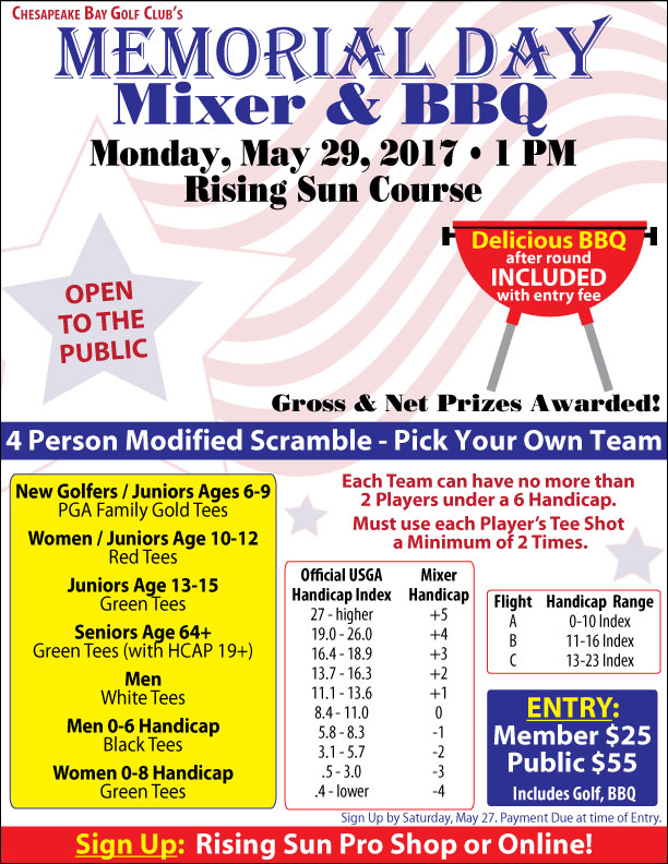 Chesapeake Bay Golf Club's Memorial Day Mixer + BBQ Flier