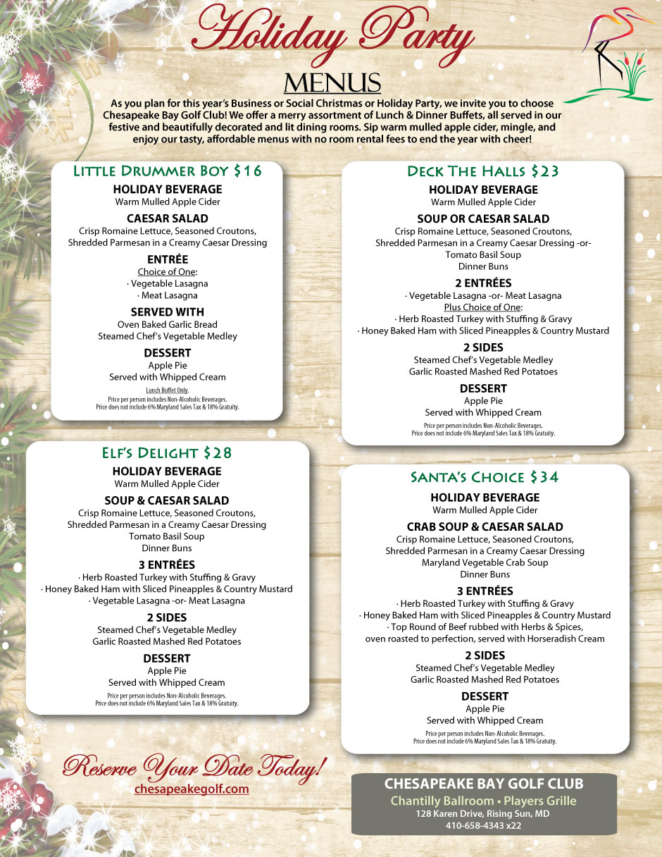 2017 Christmas Holiday Party Menus