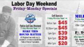 Labor Day Weekend Friday-Monday September 1-4, 2017 Golf + FootGolf Specials