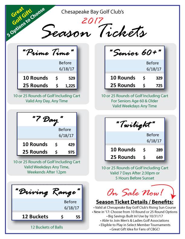 Chesapeake Bay Golf Club's 2017 Season Tickets Flier.