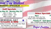 Memorial Day Weekend Golf + FootGolf Specials.