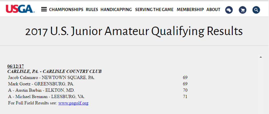 2017 US Junior Amateur Qualifying Results Carlisle, PA