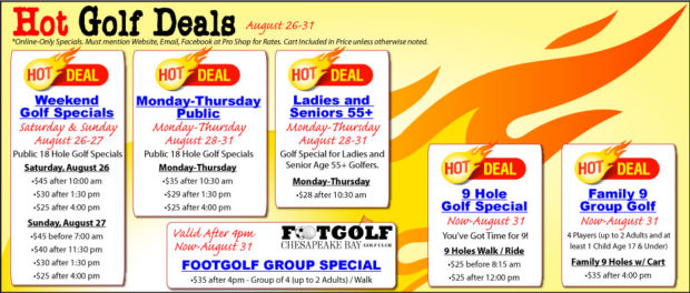 Golf and FootGolf Specials August 26-31