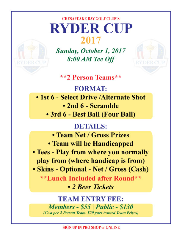 "CBGC's ""Ryder"" Cup Flier"
