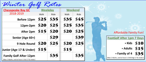 Winter Golf Rates FootGolf Rates