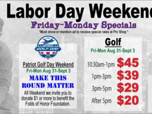 Labor Day Weekend Golf Specials